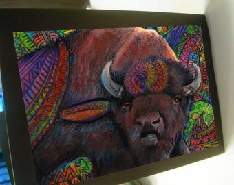 greeting card abstract buffalo bison colorful zentangle blank card 5x7