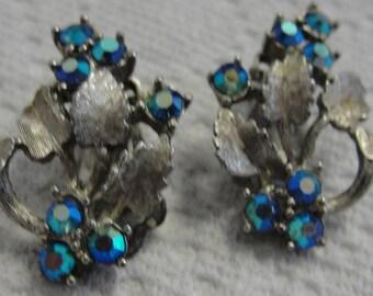 Vintage Rhinestone and Goldtone Leaf Clip Earrings