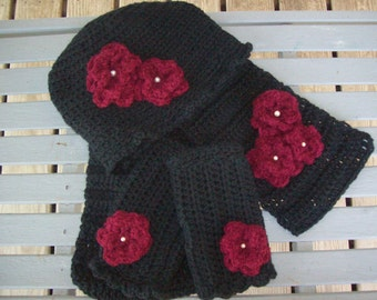 Scarf,Hat,Fingerless Gloves Set.Black,Burgandy,Pearl Beads,Flowers,Gift,Photos,Women, Large,Clothing,Crocheted