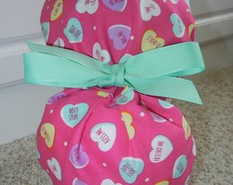 Turn Up Ponytail Scrub Hat with Valentine Conversation Hearts