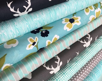 Forest Fabric Bundle, Woodland Blanket Fabric Bundle, Woodland Baby Quilt fabric, Deer Bedding, Hello Bear, Bundle of 8, Choose the Cuts