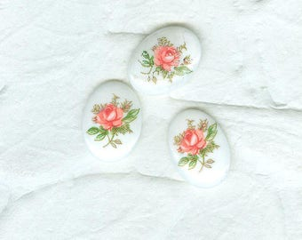 Vintage Opaque Pink Roses  German Glass Cabs 4 in Lot 18x13 mm
