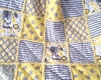 Baby Rag Quilt, Gender Neutral, Gray and Yellow, Elephant, Lion Alligator, Zoo, Stripes, Flannel, Ready to Ship