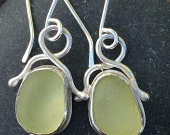 Soft Yellow Sea Glass and Sterling Silver Earrings
