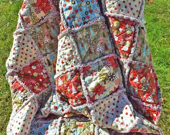 Christmas Joy Rag Quilt - Christmas Trees - Dots, Poinsettias - Lap Quilt - Christmas Decor