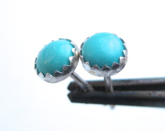 Small Turquoise Stud Earrings, 5 mm or 6mm, Turquoise Earrings, December Birthstone Jewelry