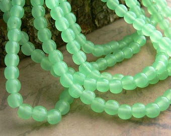 Jade Czech Glass Beads Smooth Round Druk Milky Green Opal 4mm (50)