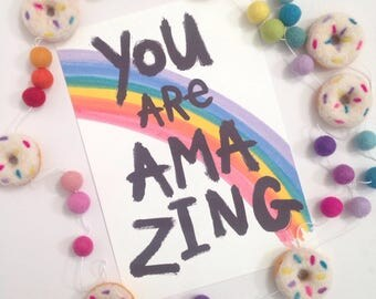"""Illustration Print - You Are Amazing -  A4/8x10"""""""