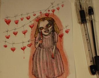 My Valentine Original Drawing by Kamila Mlynarczyk Woodedwoods