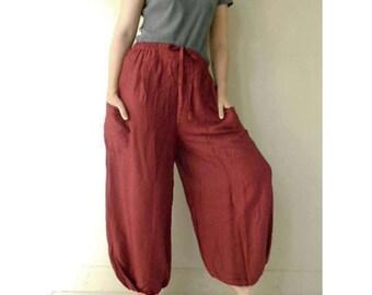 Maroon Rayon Boho Hippie Gypsy Comfy Summer Pants Casual Long Elastic Waist Aladdin Pants (RP02)