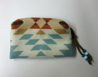 Zippered Pouch Coin Purse Change Purse Accessory Organizer Wool Southwest Print Blanket Wool from Pendleton Oregon