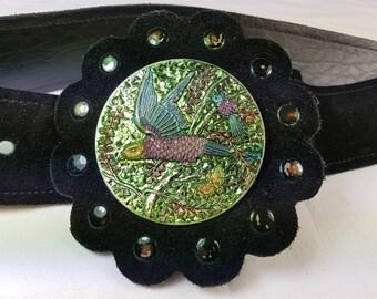 Vintage Black Suede Leather Belt with Metal Metallic Bird Belt Buckle 1970's Adjustable 28 - 34 Inches