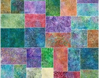 "SQ20 Robert Kaufman TIGERFISH BATIKS Precut 5"" Charm Pack Fabric Quilting Cotton Squares CHS-487-42"