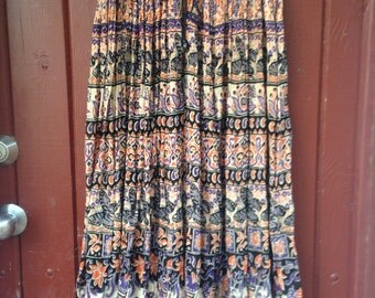 Vintage 1970s Indian Cotton Skirt Maxi, Butterflies Fish Floral Print, Hippie Boho Festival Skirt, Free Size