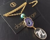 "Dara Ettinger 14kt Gold Plated Agate Geode Druzy in purple with turquoise bead and engraved Plexi ""M"" Necklace"