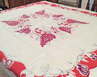 """Vintage Red Grapes and Floral Tablecloth Bright Colors Very Sturdy Cloth 44"""" X 50"""" Very Good Condition TB19"""