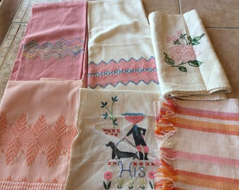 Vintage Linen Value Bundle Six Pink and Peach Towels VB12