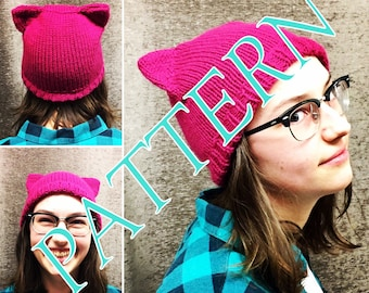 Pussy Hat - KNITTING PATTERN - Cat Hat - Easy to Read Knitting Pattern