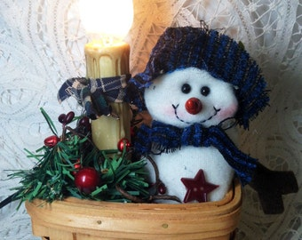 Primitive, Electric, lamp, basket, winter, stuffed snowman, firs, jingle wreath, red pipberries, bells