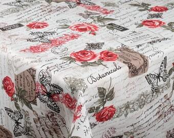 "ROUND Handmade Tablecloth - Diameter 68"" - 170 cm  - ROSES"