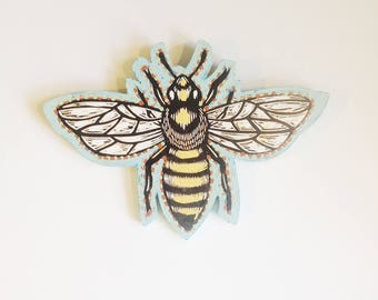 Honey Bee Art, Honey Bee Mixed Media Linocut Painting on Wood, Bee Art, Ready to Hang Wall Art