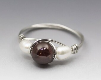 Pyrope Garnet & White Pearl Sterling Silver Wire Wrapped Bead Ring - Made to Order, Ships Fast!