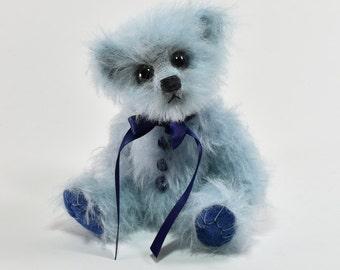 Wells – Artist Teddy Bear, Handmade, Stuffed Animal, Mohair, Vintage, OOAK, Blue Bear, Made in Alaska, 5.5 Inches