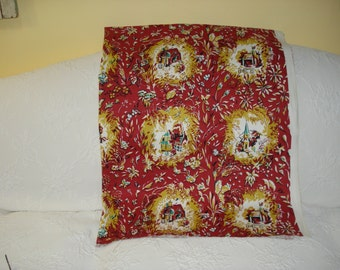 Red Country Vintage Toille Fabric Remnant, Piece, Upholstery and Drapes, Fashion