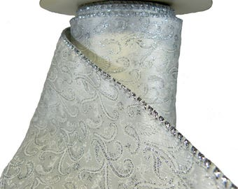 """3 Rolls Of White Satin Silver Metallic Scrolling Vines Wired Ribbon  4"""" Wide"""