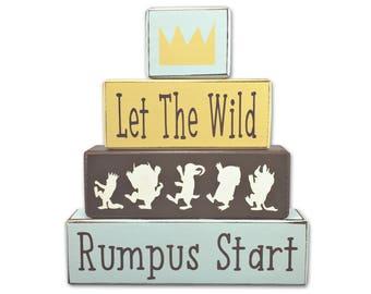 Wild Thing Nursery - Wild Rumpus - Wild Things - wood blocks