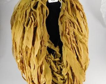 Sari Silk Ribbon, Silk Sari Ribbon, CHIFFON Sari ribbon, Pale Tobacco Leaf, tassel supply, weaving supply, jewelry supply, knitting supply
