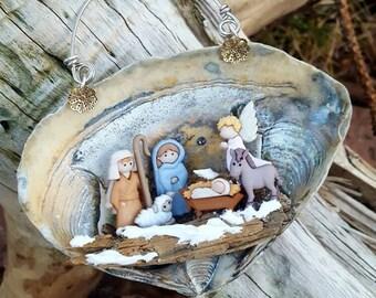 A nativity scene Inside a Seashell