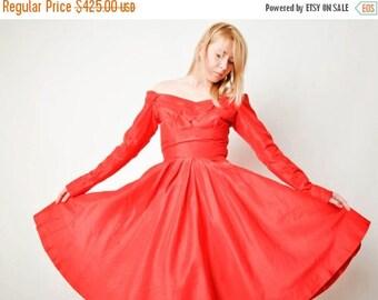ON SALE Vintage Red Ceil Chapman Off Shoulder Dress