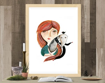 Beautiful Girl Illustration, Dog Print, Greyhound Art, Watercolor Painting Wall Art, Girl and Dog Print