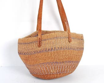 SISAL woven stripe 70s 80s JUTE tan leather bucket TOTE purse bag