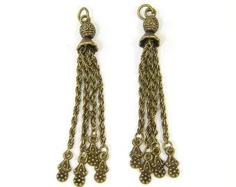 Antique Brass Chain Tassel Fringe Earring Findings Flower Charm Dangle Jewelry Component  AN4-2 2