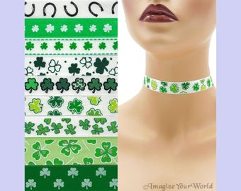 Custom St. Patrick's Day Choker 5/8 - 7/8 inch wide Shamrocks Luck of the Irish  Green Clover Lucky Horseshoes ( 16 - 23 mm width) Your Size