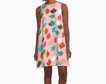 A Line Dress for Woman, Modern Dresses, Geometric Dress, Woman Dress, Colorful Dress, Loose dress, Bold colors Dress, Gifts for her