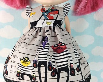 Cops and Robbers Dress for Blythe  with Flutter Sleeves