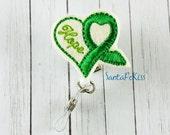 Mental Health Awareness ID Badge - Embroidered Felt Badge Reel - Retractable ID Badge Holder - Belt Clip Badge Reel - Medical Badge Holder