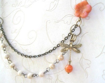Dragonfly Necklace, Vintage Style Ivory, coral bead necklace, brass charm, featured in Jewelry Affaire magazine – Pretty Spring Jewelry