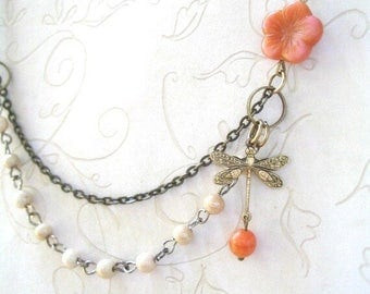 Vintage Style Ivory and Coral Bead Necklace with Brass Dragonfly Charm, Featured in Jewelry Affaire magazine – Pretty Spring Jewelry