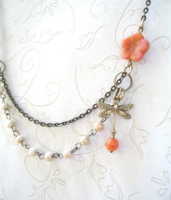 Vintage Style Ivory and Coral Bead Necklace with Brass Dragonfly Charm – Pretty Spring Jewelry