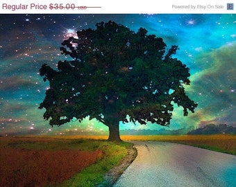 ON SALE 35% Painted Photograph....Starry Starry Night ...8x10 archival Fine Art Giclee print