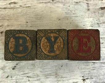 three antique Victorian toy blocks