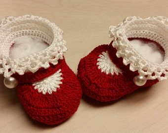 Baby Girl Booties, Crochet Mary Jane Shoes, 0-3 Months Newborn Girl or Reborn Doll, Christening, Baby Shower Gift, Baptism
