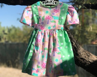 Safari Animals Pastel Polka Dot 70s Inspired Birthday Dress with Panties Sz 12 months 1 year
