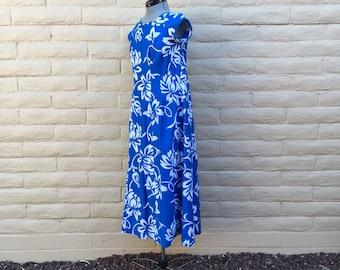 Vintage Kimos Polynesian Shop Hawaiian 60s Retro Dress Blue Floral