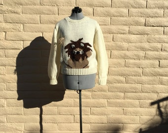 Vintage Genoa Lion Graphic 80s Ugly Striped Pullover Sweater SZ S M