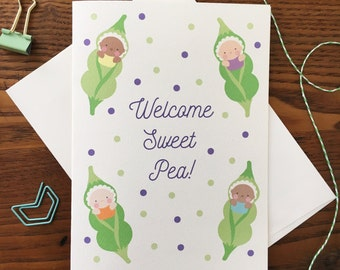 Baby Card. Pea Pod Baby Card. New Baby Card. Sweet Pea Card. Welcome Baby. Baby Shower Card. New Mom Card. New Parents Card. Blank Card